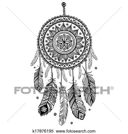 clipart of ethnic american indian dream catcher k17876195 search clip art illustration murals. Black Bedroom Furniture Sets. Home Design Ideas