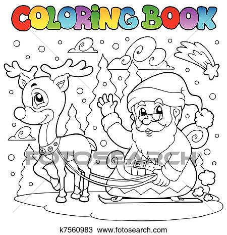 剪贴画 着色书, 圣诞老人, 主题, 4