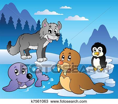 Clipart scena inverno con vario animali 2 k7561063 - Animali in inverno clipart ...