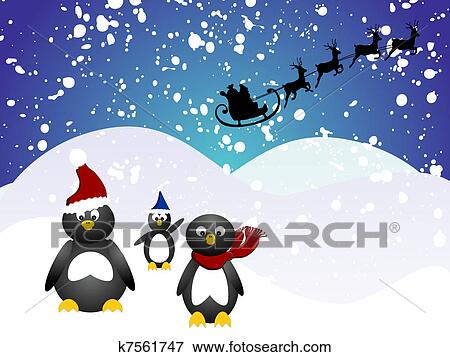 剪贴画 - 企鹅, 圣诞节