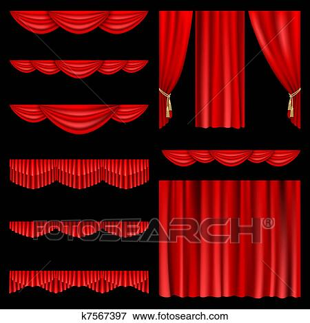 Clip Art Of Red Curtains K7567397 Search Clipart Illustration Posters Drawings And Eps