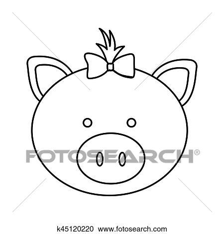 剪贴画 - 数字, 脸, 猪, 带子, 鞠躬, 头, 图标.图片