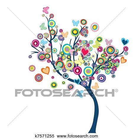 Colecci n de ilustraciones coloreado feliz rbol con for Mural de flores y mariposas