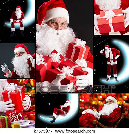 bild collage von weihnachtsmann k7575977 suche stockfotografie fotos drucke bilder und. Black Bedroom Furniture Sets. Home Design Ideas