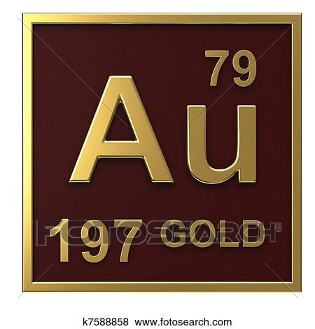 stock illustration element of the periodic table gold fotosearch search eps clip art - Periodic Table Symbol Gold