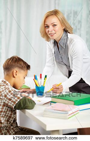 家庭教师, 带, 小学生