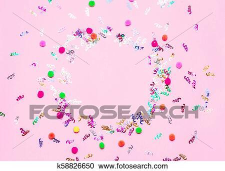 免版税(rf)类图片 - 粉红色, 节日, 五彩纸屑, 背景.