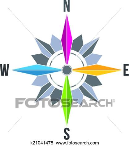 Clip Art Of Abstract Compass Rose Image Logo K21041478 Search