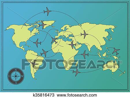 地囹kΈ�_剪贴画 - 飞机, 世界地图 k35816473 - 搜寻边框,底纹
