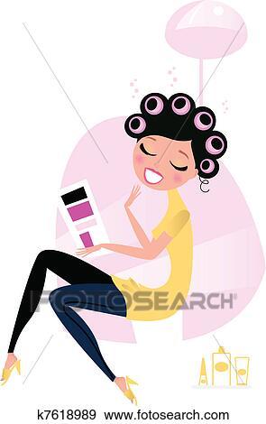 Clip Art Of Beauty Woman At The Hairdresser Beauty Salon