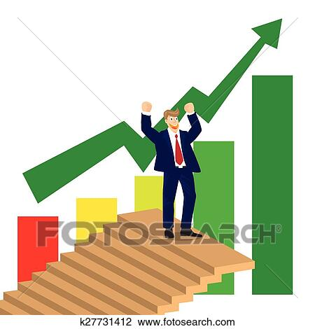 clipart of business man cheer on top of stairs on stock market chart rh fotosearch com stock market clipart images stock market crash clipart
