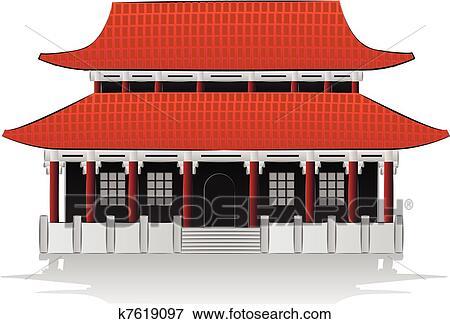 Clip Art Of Chinese House Illustration K7619097