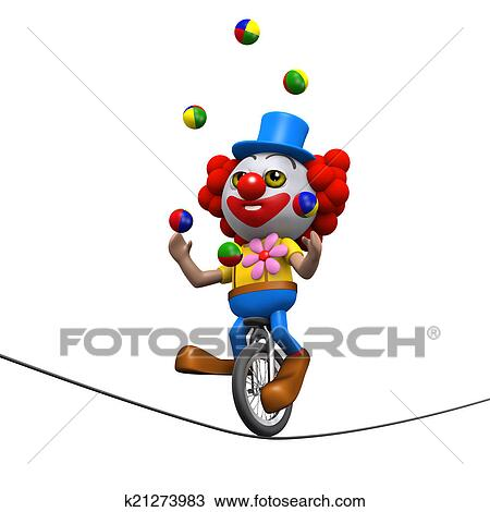 手绘图 - 3d, 小丑, 耍弄