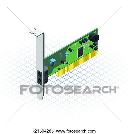 Clipart of Isometric Network Card k21594285 - Search Clip ...