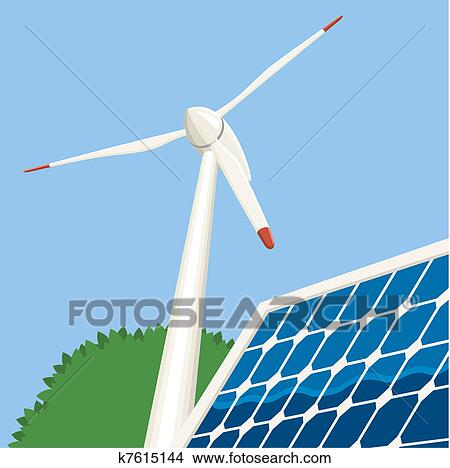 Clipart Of Wind And Solar Energy K7615144 Search Clip