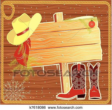 Clip Art Of Billboard Frame With Cowboy Hat Vector