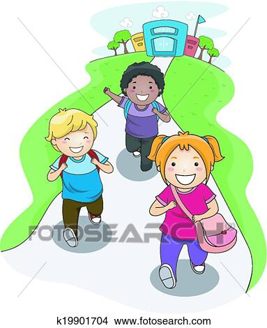 Clipart of Going Home from School k19901704 - Search Clip ...