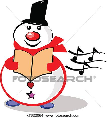 clipart of singing snowman k7622064 search clip art illustration rh fotosearch com clip art singing in church clip art singing choir