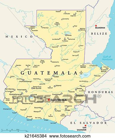 Clipart Of Guatemala Political Map K Search Clip Art - Political map of guatemala