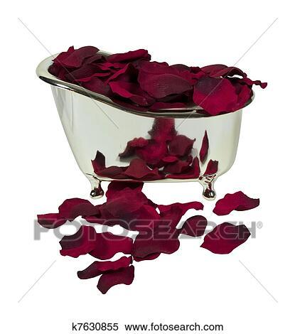banque d 39 image baignoire rempli p tales rose k7630855 recherchez des photos des images. Black Bedroom Furniture Sets. Home Design Ideas