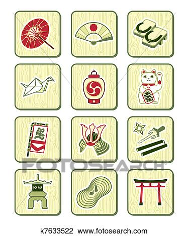 Japanese traditional red pattern set royalty free stock photography - Clipart Of Japanese Icons Bamboo Set K7633522 Search