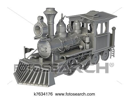 Old Train Drawing 3d Old Train