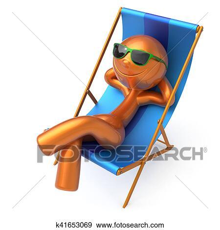 Plage Chaise Longue Vacances Ete Homme Smiley Reposer