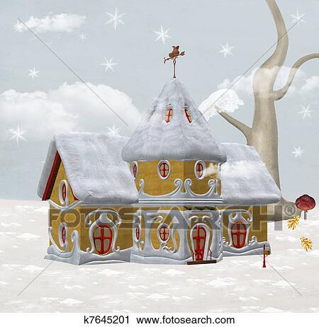 剪贴画 圣诞老人, 冬季, 房子
