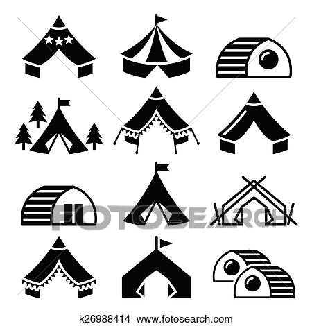 Clipart Of Glamping Luxurious Camping Tents K26988414