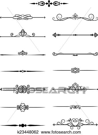 Clipart of floral vintage dividers elements for page decor and page decoration vector illustration isolated on white background can use for birthday card wedding invitations junglespirit Image collections