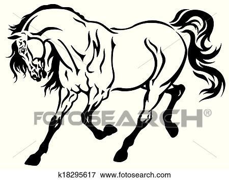 clip art of running horse k18295617 search clipart illustration rh fotosearch com
