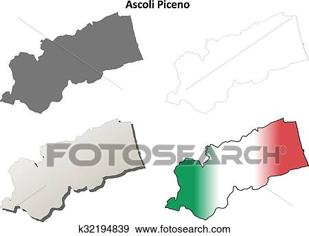 Clip Art of Ascoli Piceno blank detailed outline map set k32194839