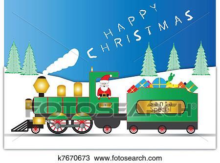 剪贴画 圣诞老人, 同时,, 铁路, engin