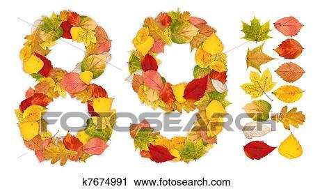 剪贴画 - 数字, 8, 同时,, 9, 做, 在中, 秋季树叶.图片