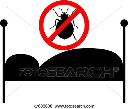 clip art verbotsschild f r bettwanzen bett k7683808 suche clipart poster illustrationen. Black Bedroom Furniture Sets. Home Design Ideas