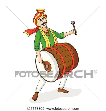 clip art of people playing dhol tasha in indian festiva k21778309 rh fotosearch com clip art indian women clip art indian princess