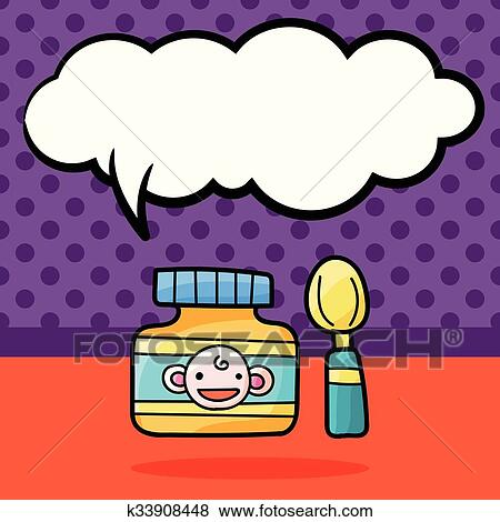 clip art of baby food doodle k33908448 search clipart rh fotosearch com cute baby food clipart cute baby food clipart