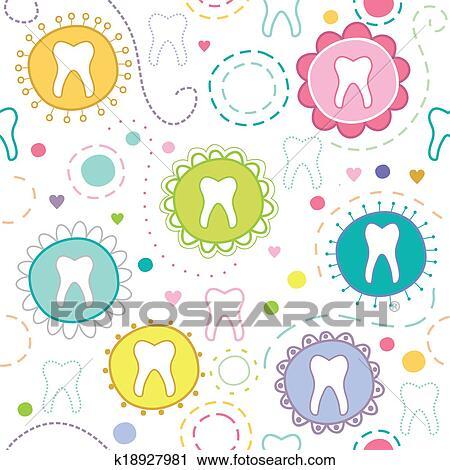 剪贴画 - 快乐, seamless, 结构, 带, 卡通漫画, 牙齿.图片
