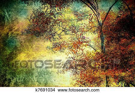 手绘图 - 性质, 树, 风景