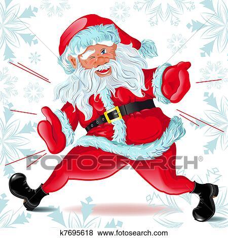 剪贴画 - 圣诞老人, 跑