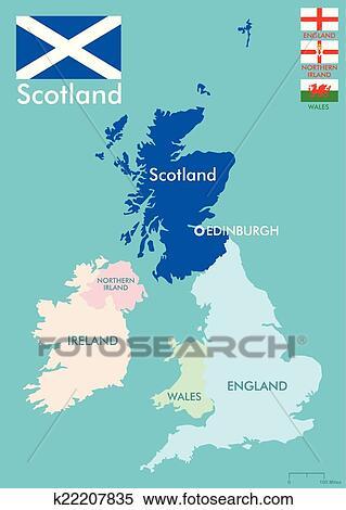剪贴画 - 苏格兰, 地图图片