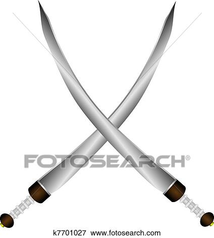 Clip Art of Two crossed swords Arabic on white k7701027 - Search ...