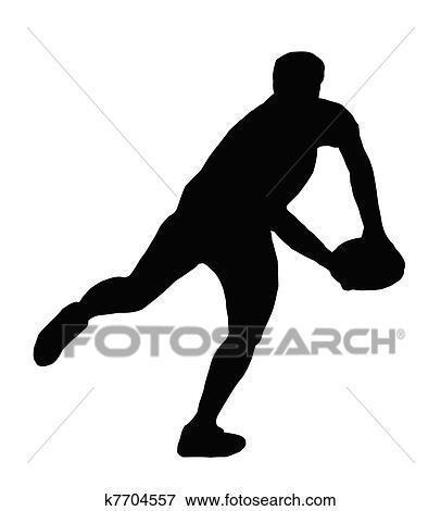 Clipart sport silhouette joueur rugby confection courant passe k7704557 recherchez - Dessin de joueur de rugby ...