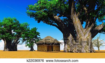 Stock Illustration of African village k22036976 - Search Clip Art ...