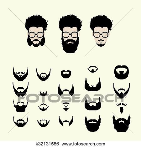 clipart vecteur ensemble de hipster style coupe lunettes barbe moustache k32131586. Black Bedroom Furniture Sets. Home Design Ideas