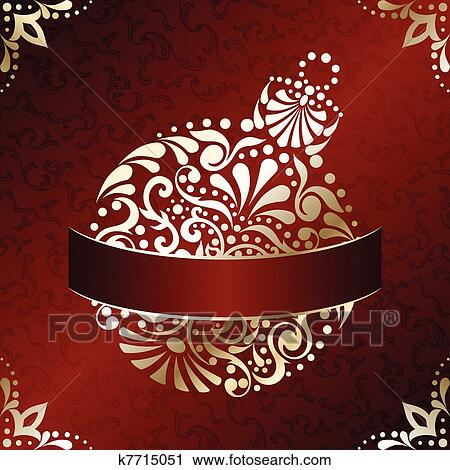 Clipart elegante weihnachtskarte in rot k7715051 for Elegante wandbilder