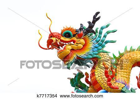 Banque de photo t te dragon chinois contre fond blanc - Photo de dragon chinois ...