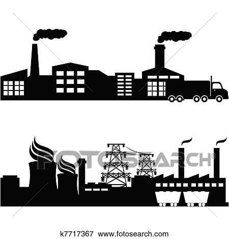 Clip Art of Factory, nuclear plant industrial buildings ...
