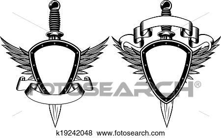 Outline medieval shield with cross icon illustration .... vectors ...