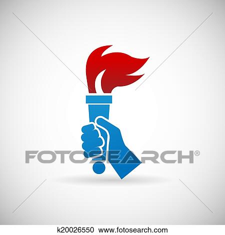 Clipart Of Victory Flame Symbol Hand Hold Fire Torch Icon Design